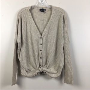 Urban Outfitters | Waffle Knit Tie Front LS Top